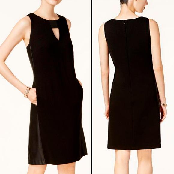 455a1210983  Nine West  Faux Leather Contrast Black Dress 8